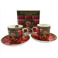 Karácsonyi espresso csésze aljjal - 2 személyes - díszdobozos - cicás