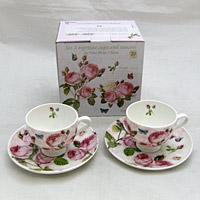 Rózsás kávéscsésze szett díszdobozban