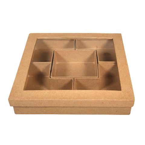 Dekorálható Papírmasé szortirozó doboz - 25x5 cm