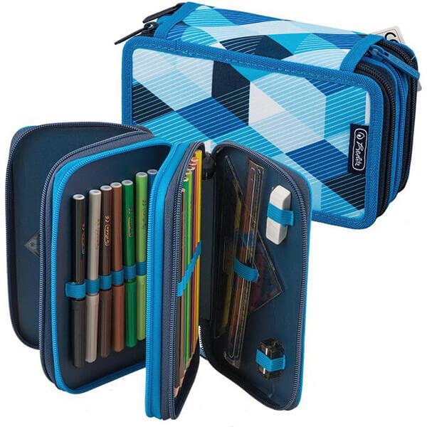 037e8d264ca0 Herlitz 3 emeletes tolltartó - töltött - Blue Cubes