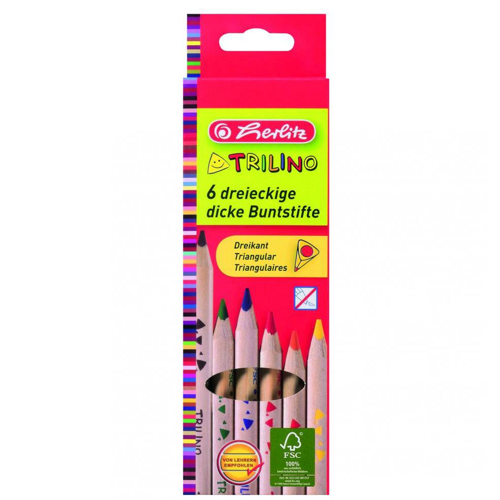 Herlitz Trilino háromszögletű színesceruza - vastag - 6 darabos 355f3b8baa