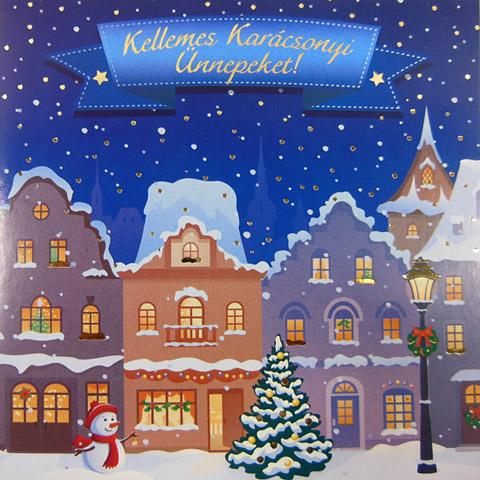 61431cae22 Kellemes karácsonyi ünnepeket képeslap - négyzetes - borítékos
