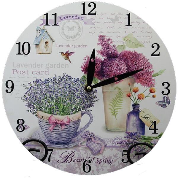 Levendulás-orgonás asztali óra - Lavender Garden
