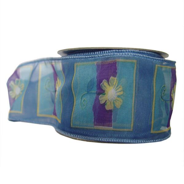 Széles kék szalag sárga virág mintával - 10 méteres 4f29362532