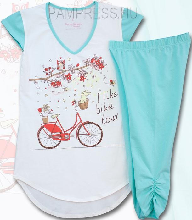 Baglyos nyári pizsama - nagylány női pizsama - menta 329bd54e45