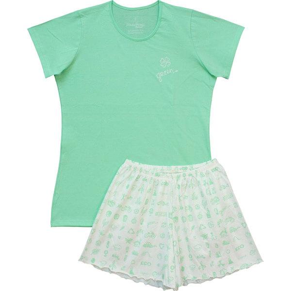 Biopamut női nyári pizsama - almazöld f5d5616025