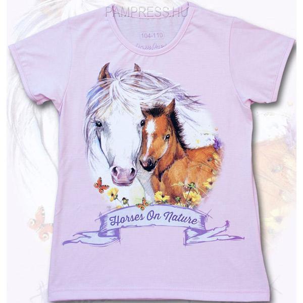 Lovas lány póló - rózsaszín 5c746d95b9