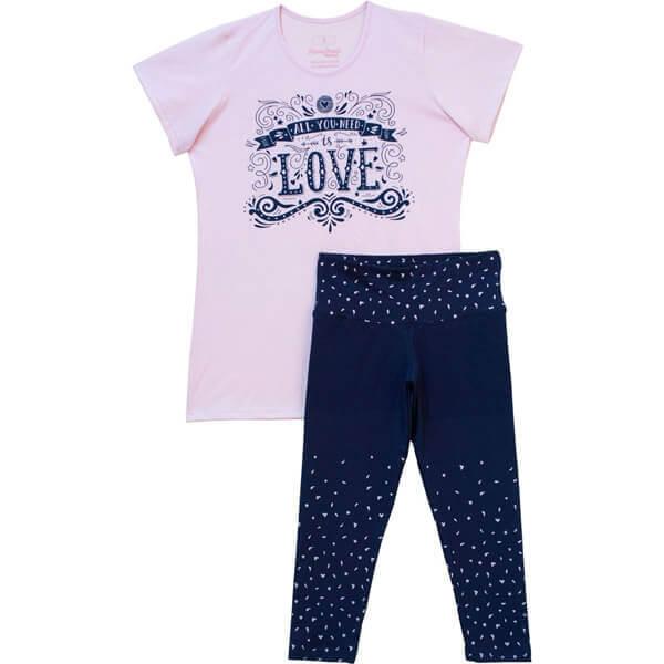 LOVE női pizsama - halásznadrágos 8d39312820