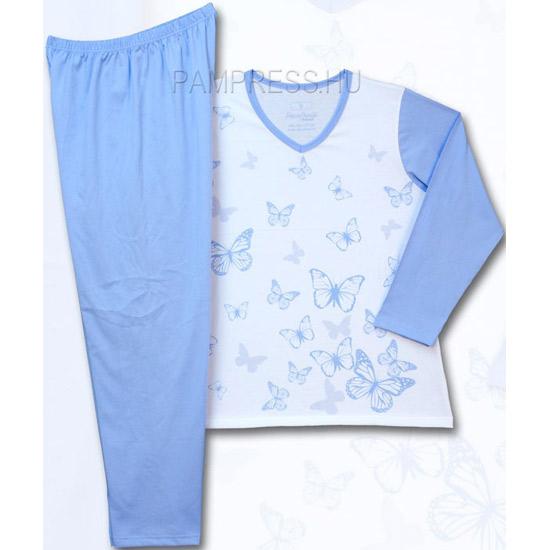 Pillangós Női hosszúujjú pizsama - molett 1aca3797af