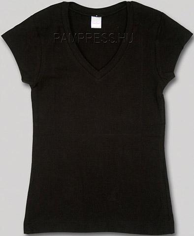 Női V-nyakú póló - fekete 9b64d48ccd