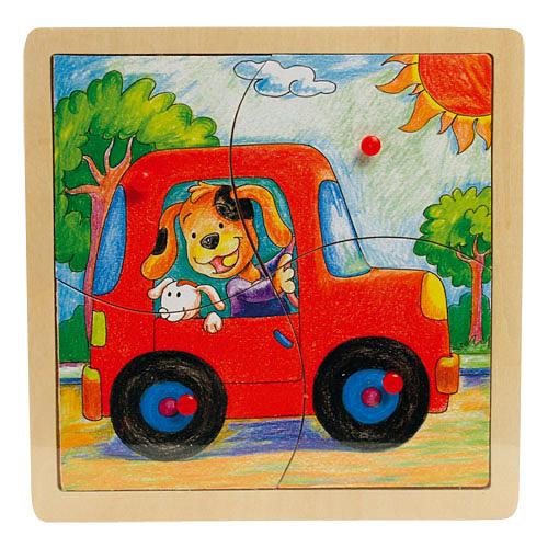 Fogantyús 4 db-os autós puzzle
