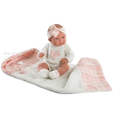 Nica újszülött baba kockás pléddel - 40 cm-es b3115694da